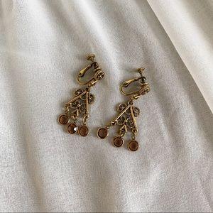 VTG Brass Neutral Bronze Jeweled Dangle Earrings
